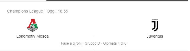Lokomotiv Mosca vs Juventus