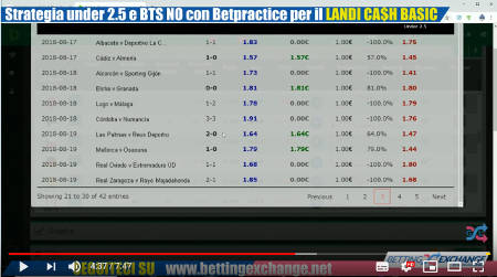 Video Strategia Under 2.5 e BTS NO (No Goal No) con Betpractice per il Landi Cash Basic