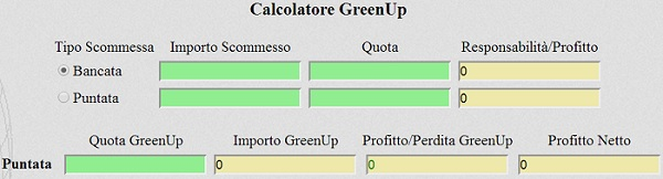 Calcolatore Green Up