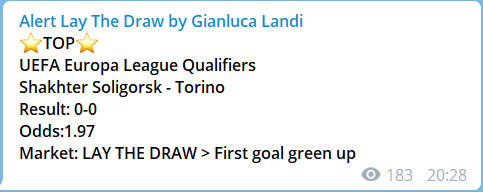esempio alert lay the draw by gianluca landi